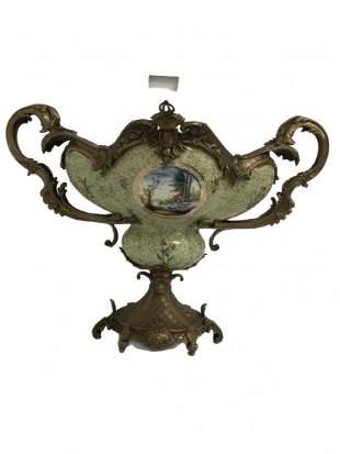 20th Century Porcelain Bronze Ormulu Centerpiece