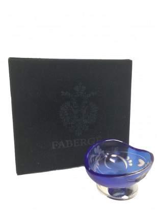 Faberge Cobalt Blue Crystal Bowl.