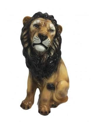 Large Italian Porcerlain Lion Sculpture