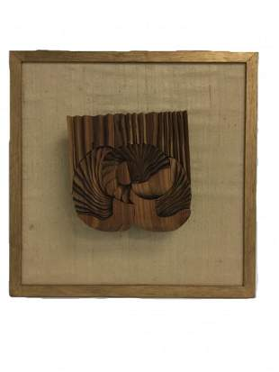 French Modern Abstract Wood Sculpture by Kuenzi