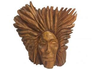 Hand Carved Native American Wood Sculpture Sunburst