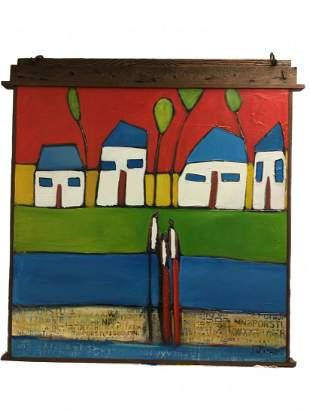 William Debilzan (American) Oil on Canvas - Hearts as