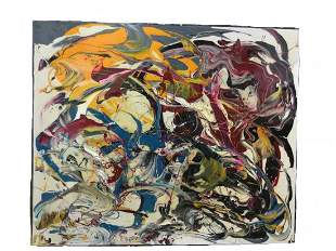 Modern Abstract Acrylic Painting on Canvas signed