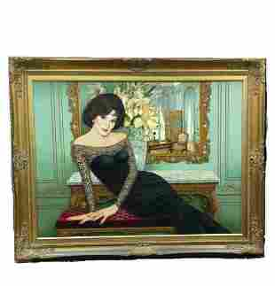 Portrait of Lady Oil on Canvas by Canovaca (Cuban)