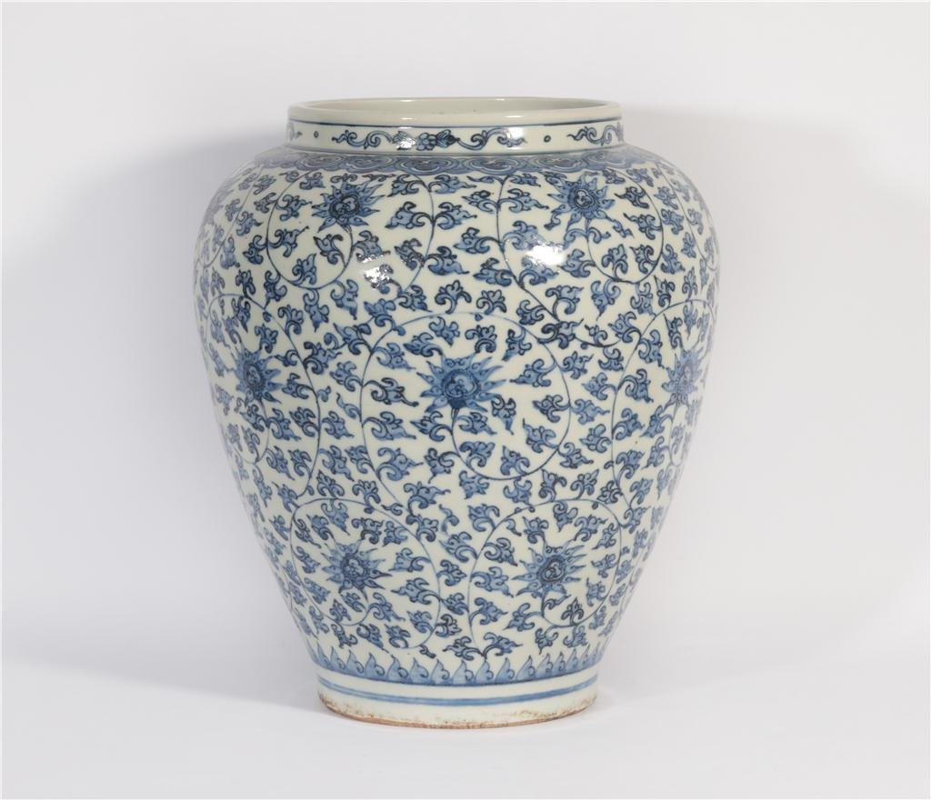A Blue and White Lotus Scrolls Jar Jiajing Period