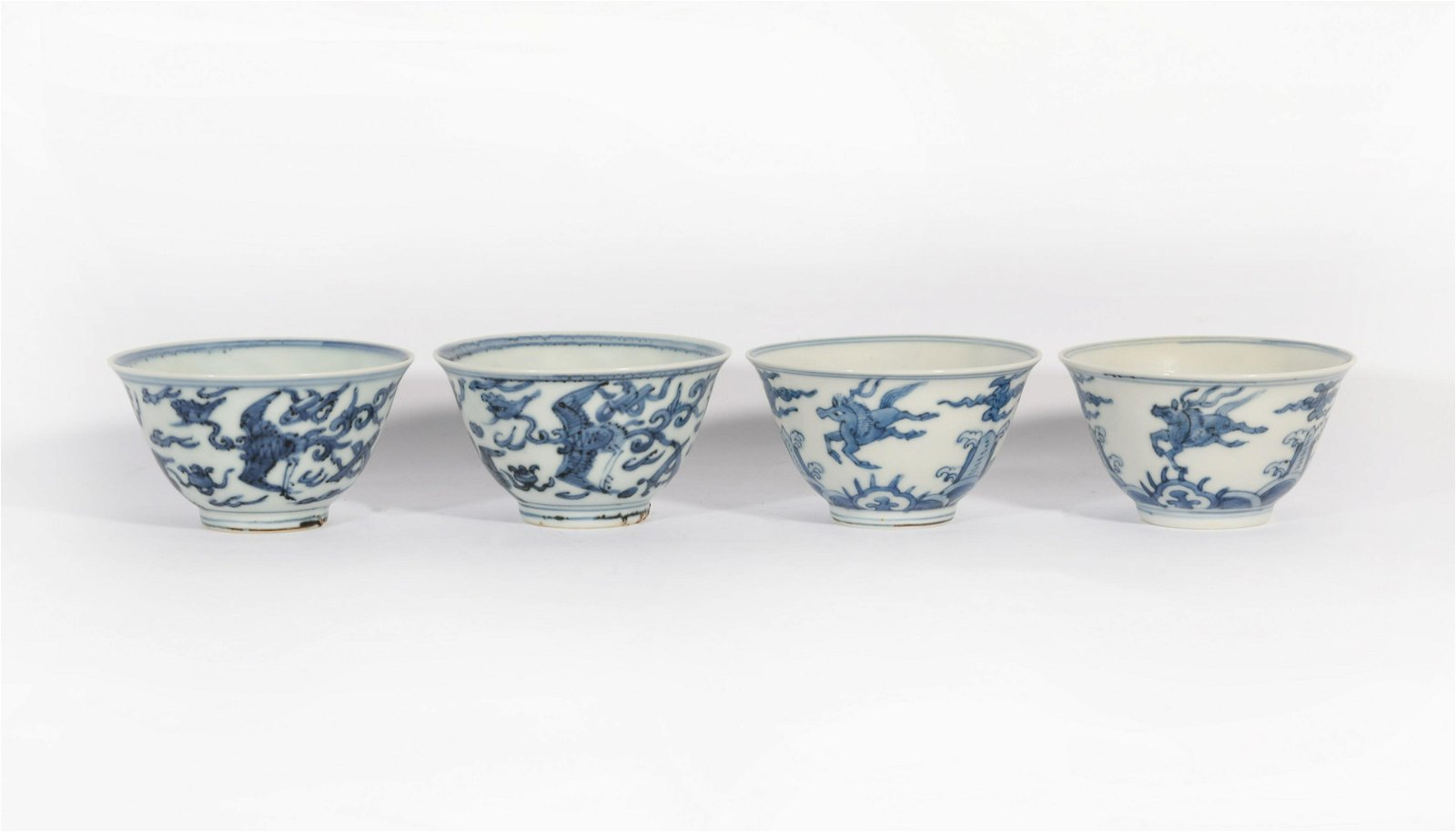 A Group of four Blue and White Bowls Kangxi Period