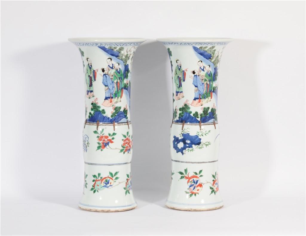 Two Famille Verte Beaker Vase Kangxi Period