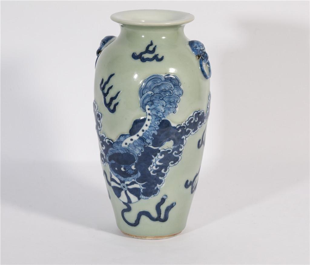 A Celadon Ground and Underglaze Blue Vase Qing Dynasty