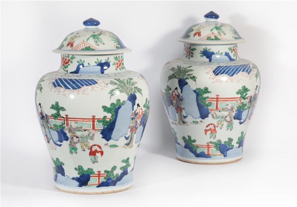 Pair Famille Verte Garnitures Kangxi Period