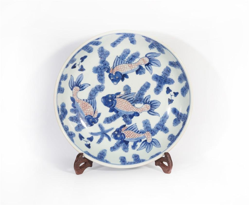An Underglaze Blue and Copper Red Plate Yongzheng