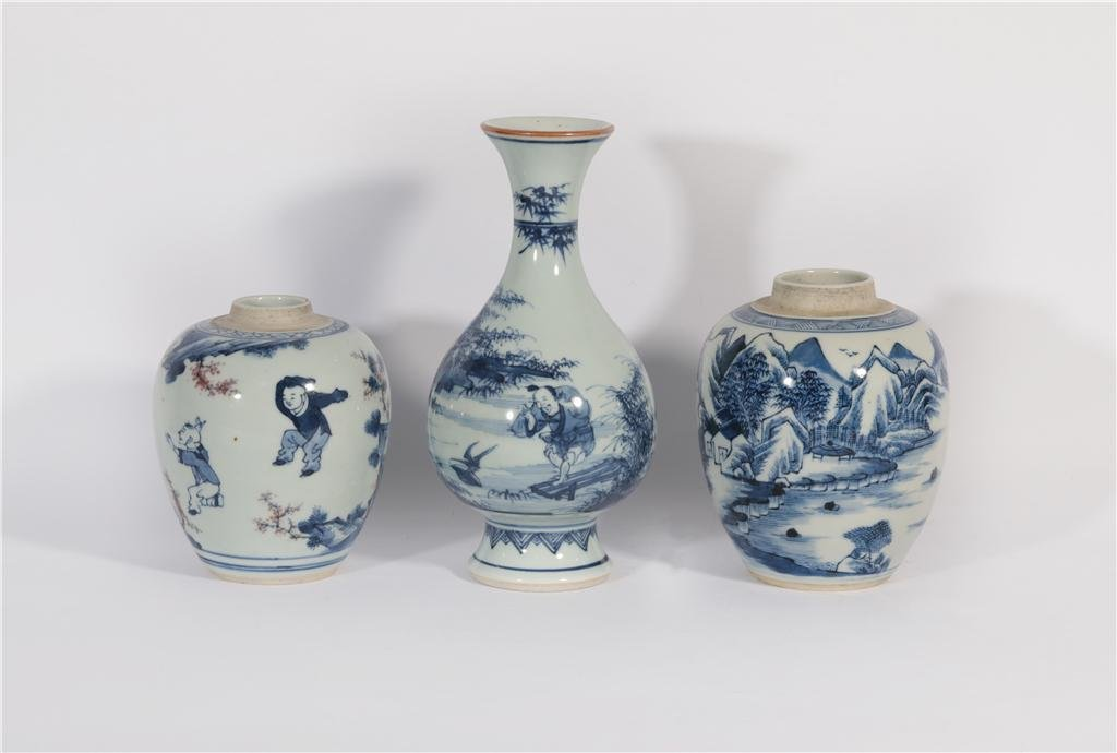 Three Blue and White Objects Yongzheng Period