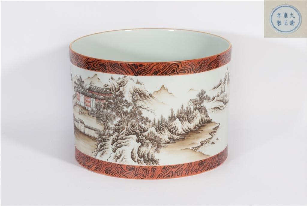 A Faux Bois Brush-pot Yongzheng Period
