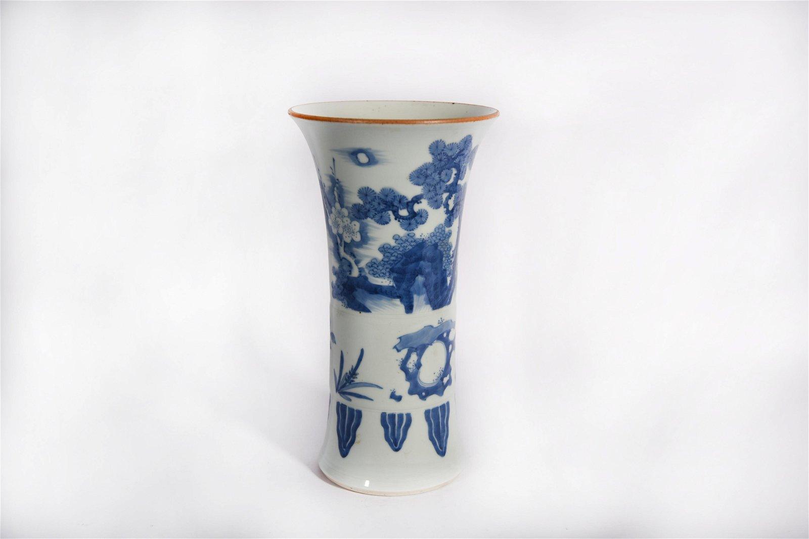 A Blue and White Beaker Vase Shunzhi Period