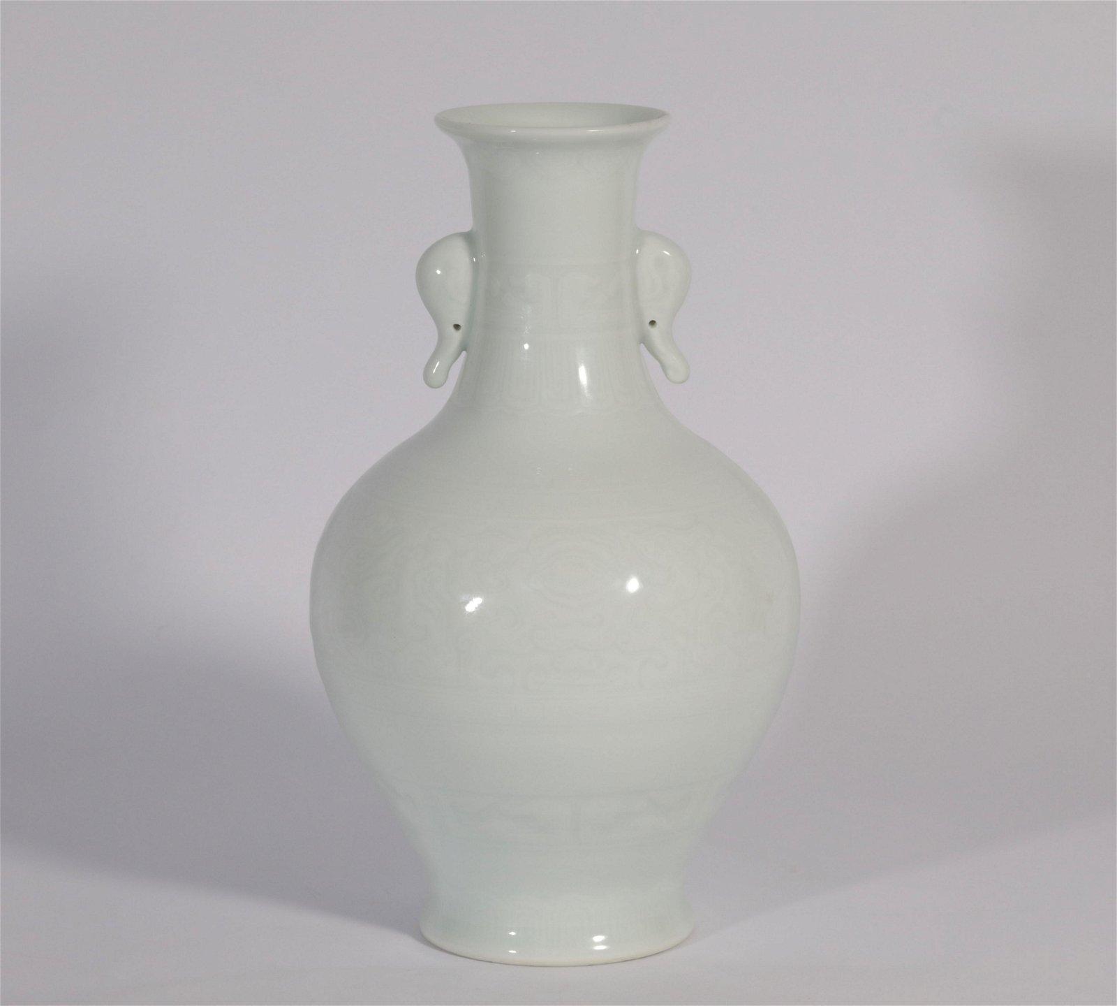 A White Glazed Vase Qianlong Period