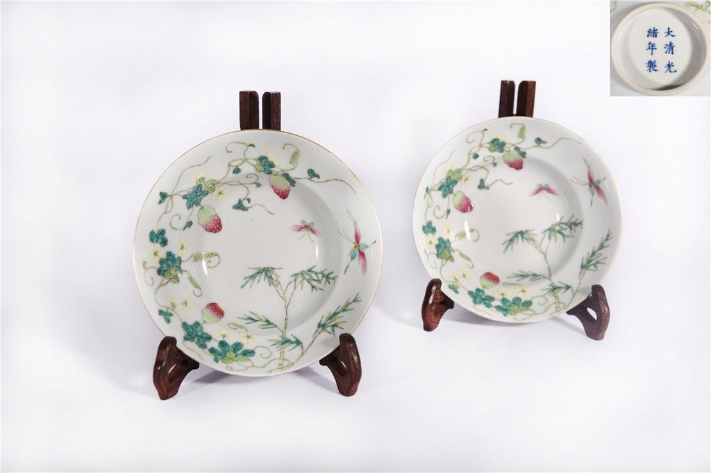 Pair Famille Rose Waisted Bowls Guangxu Period
