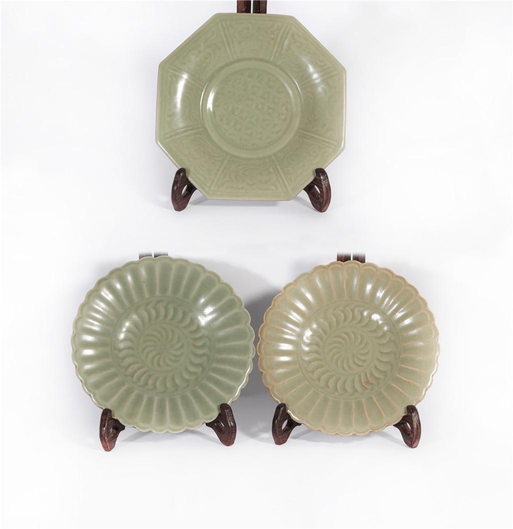 Three Longquan Plates Yuan Dynasty