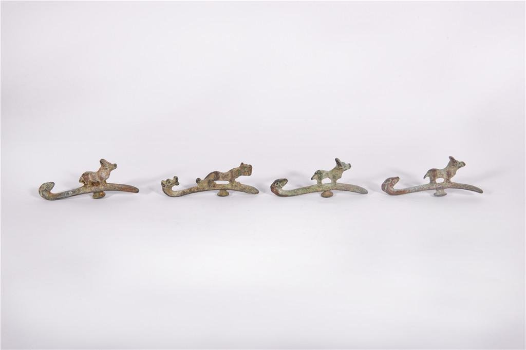A Group of Bronze Hooks Han Dynasty