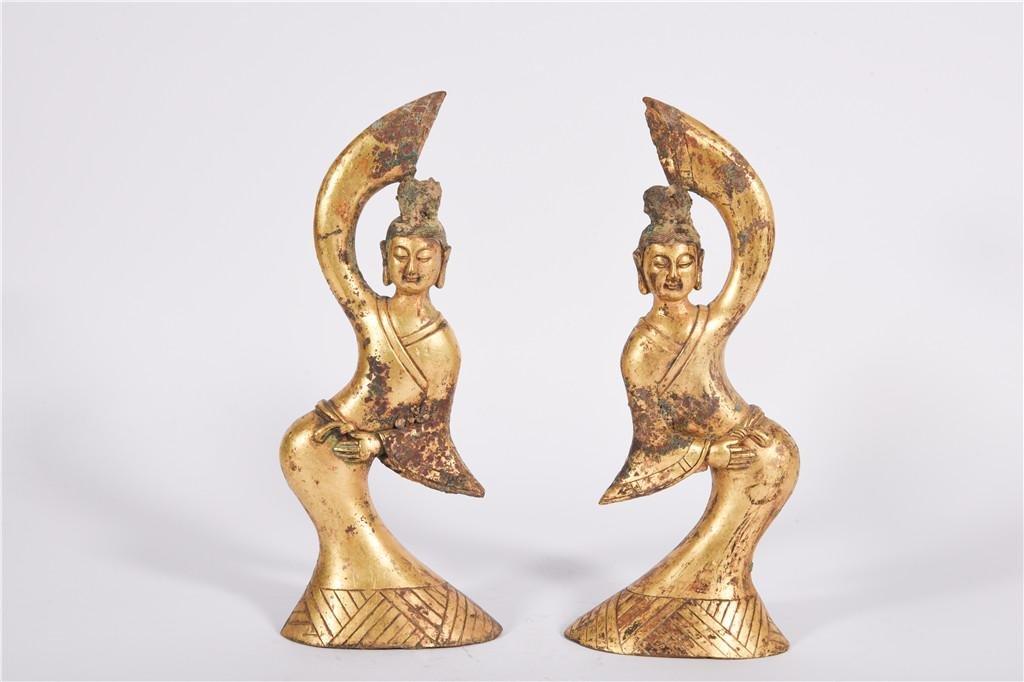 Pair Bronze Gilt Dancers Tang Dynasty