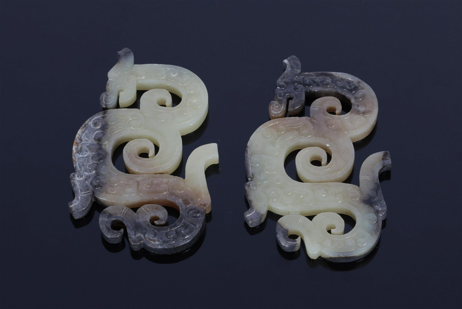 Pair White and Russet Jade Ornaments Han Dynasty