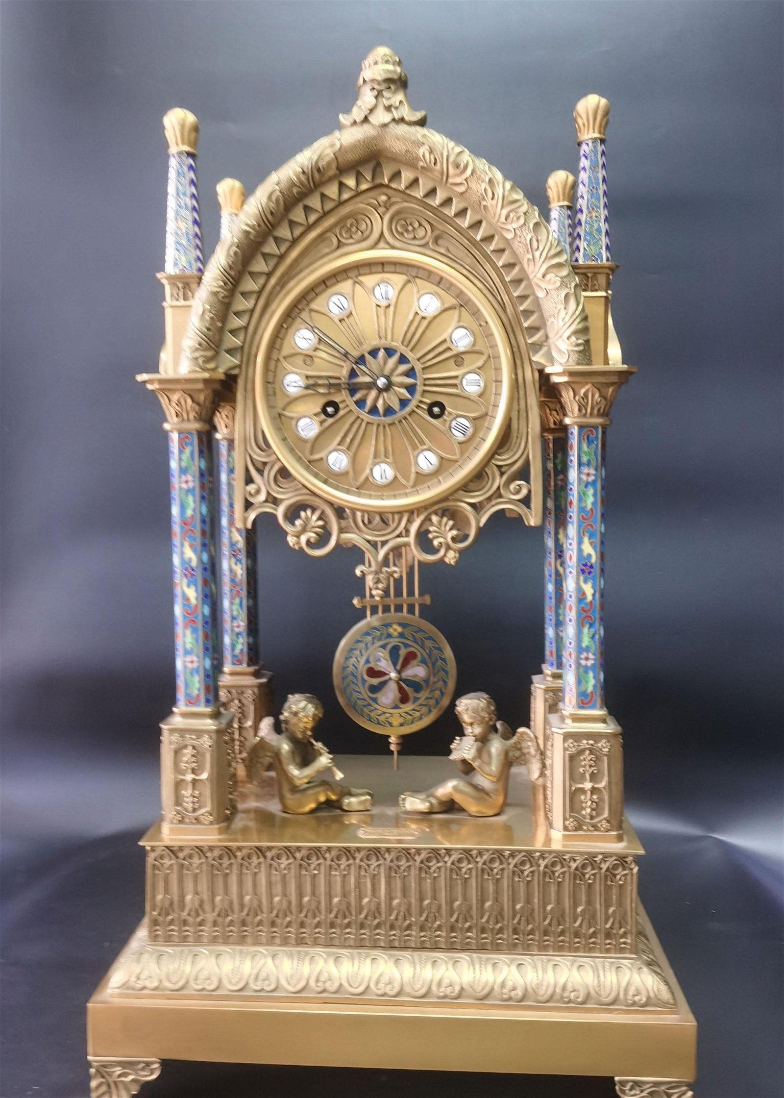 A Bronze Gilt Cloisonne Enamel Clock 18-19th Century