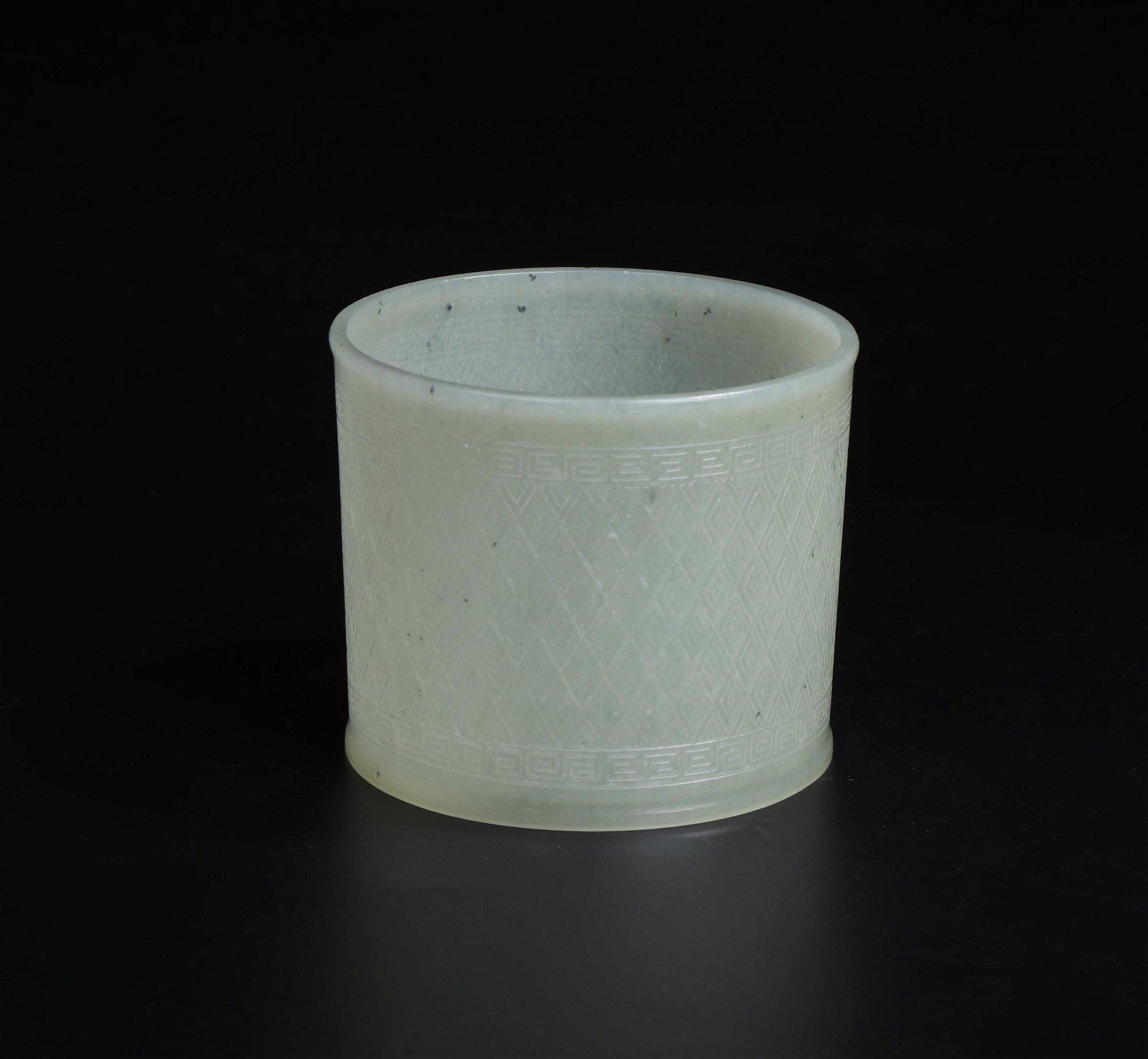 A White Jade Brush Pot Qing Dynasty