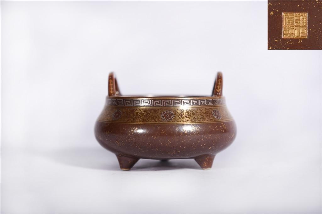 An Aubergine Glazed Censer Yongzheng Period