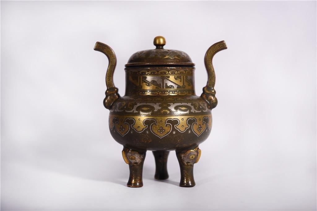 An Aubergine Glaze and Gilt Incense Burner Qianlong
