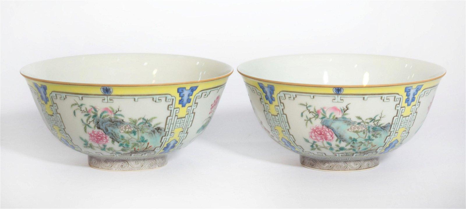 Pair Famille Rose Bowls Qianlong Period