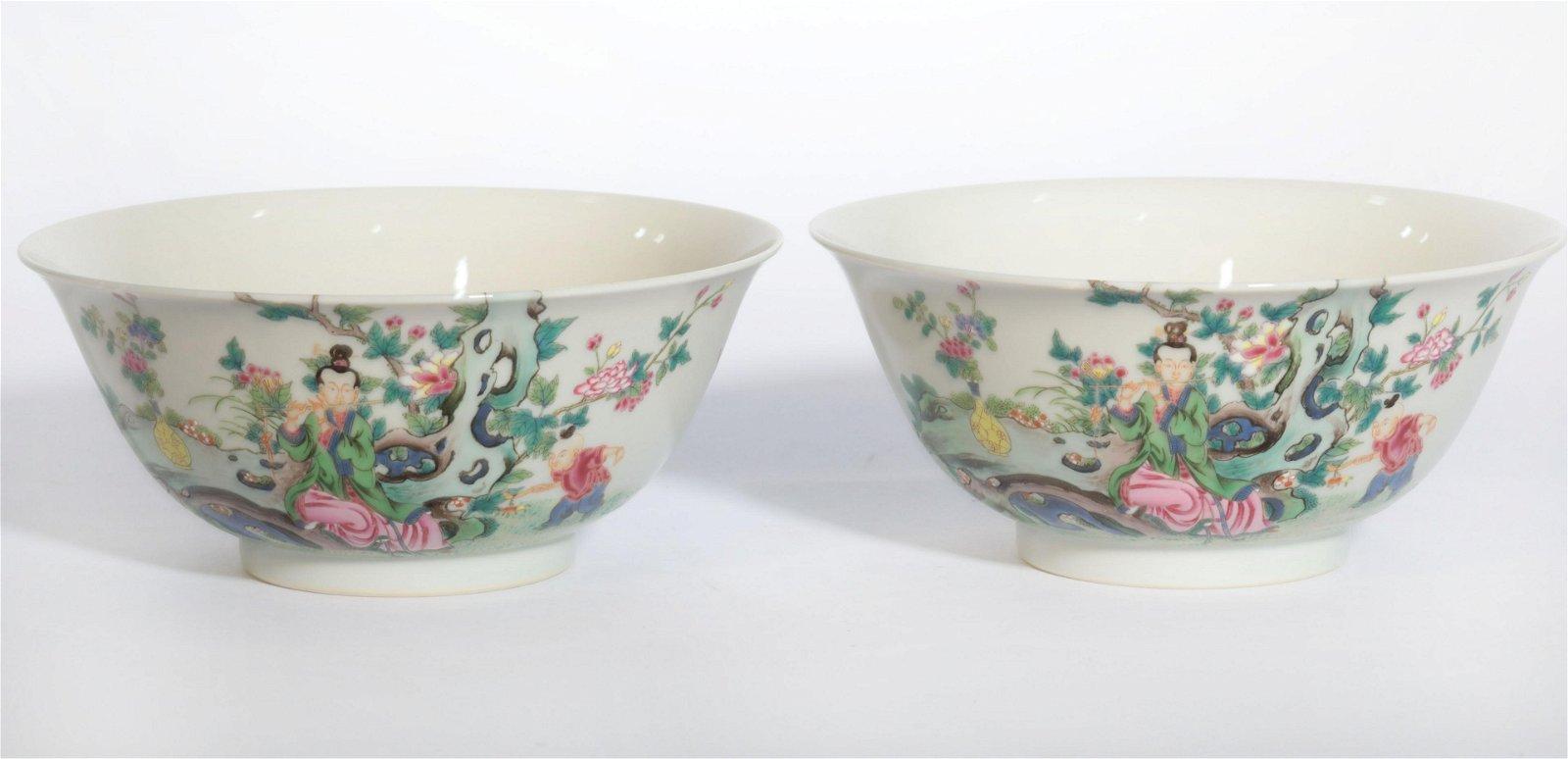 Pair Famille Rose Floral Bowls Yongzheng Period