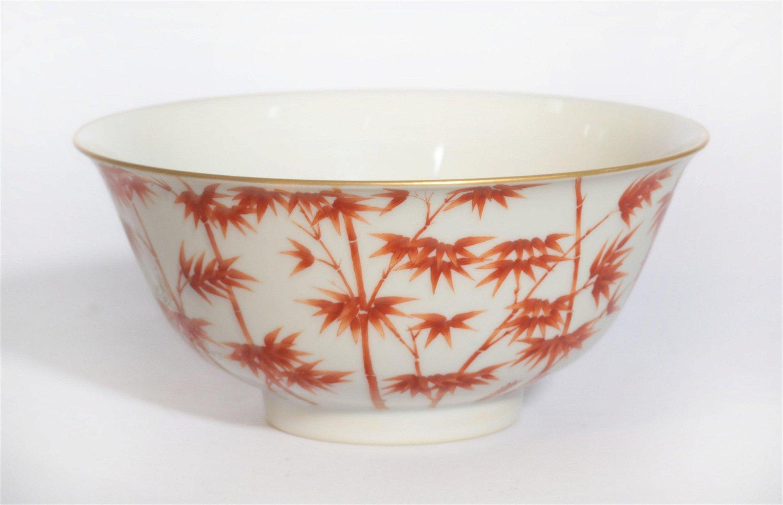 An Iron Red Bamboo Bowl Qianlong Period