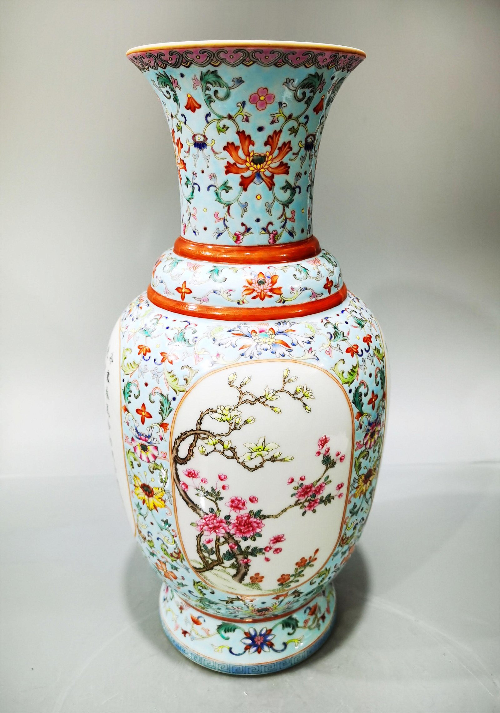 A Famille Rose Vase Jiaqing Period