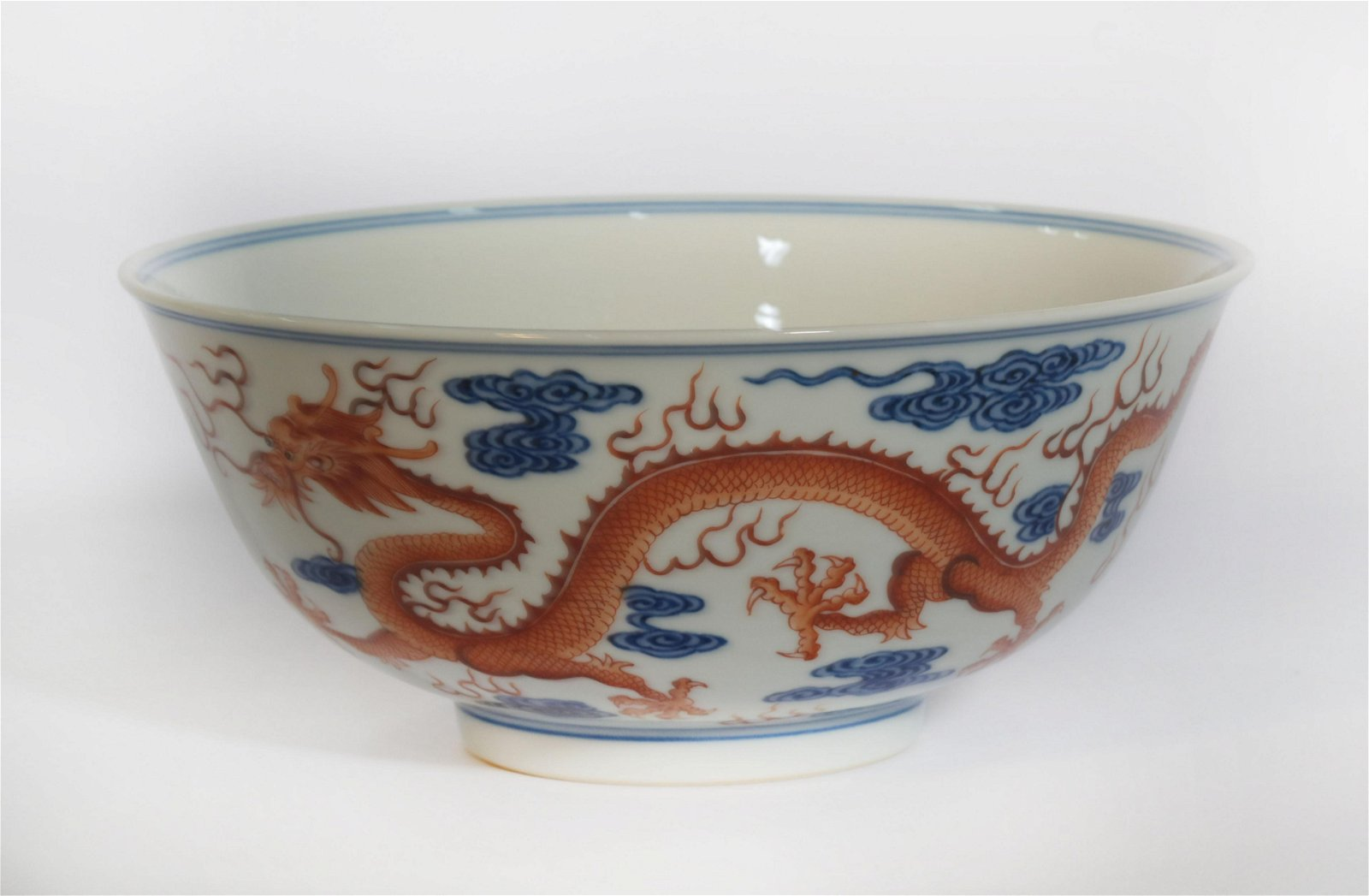 An Underglaze Blue and Iron Red Dragon Bowls Qianlong