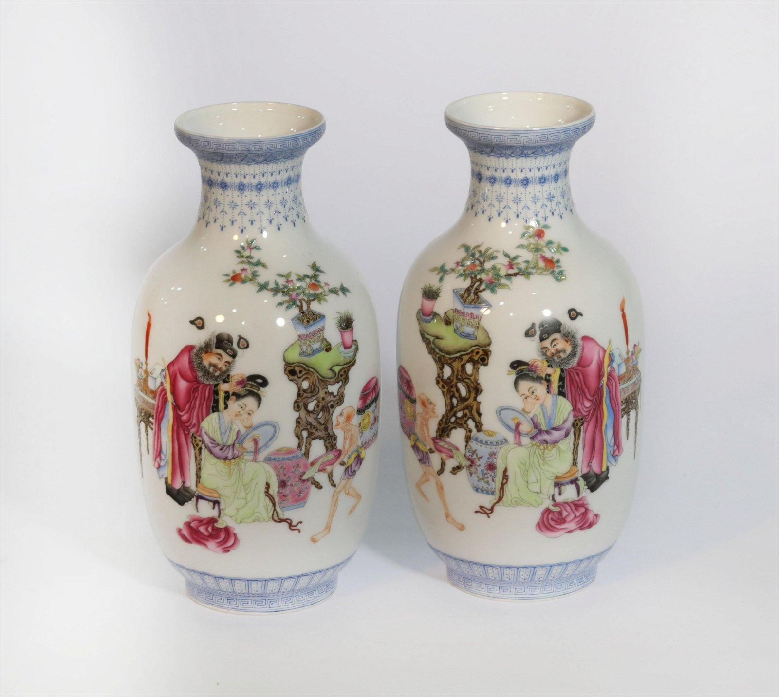 Pair Famille Rose Figural Vases Republic Period