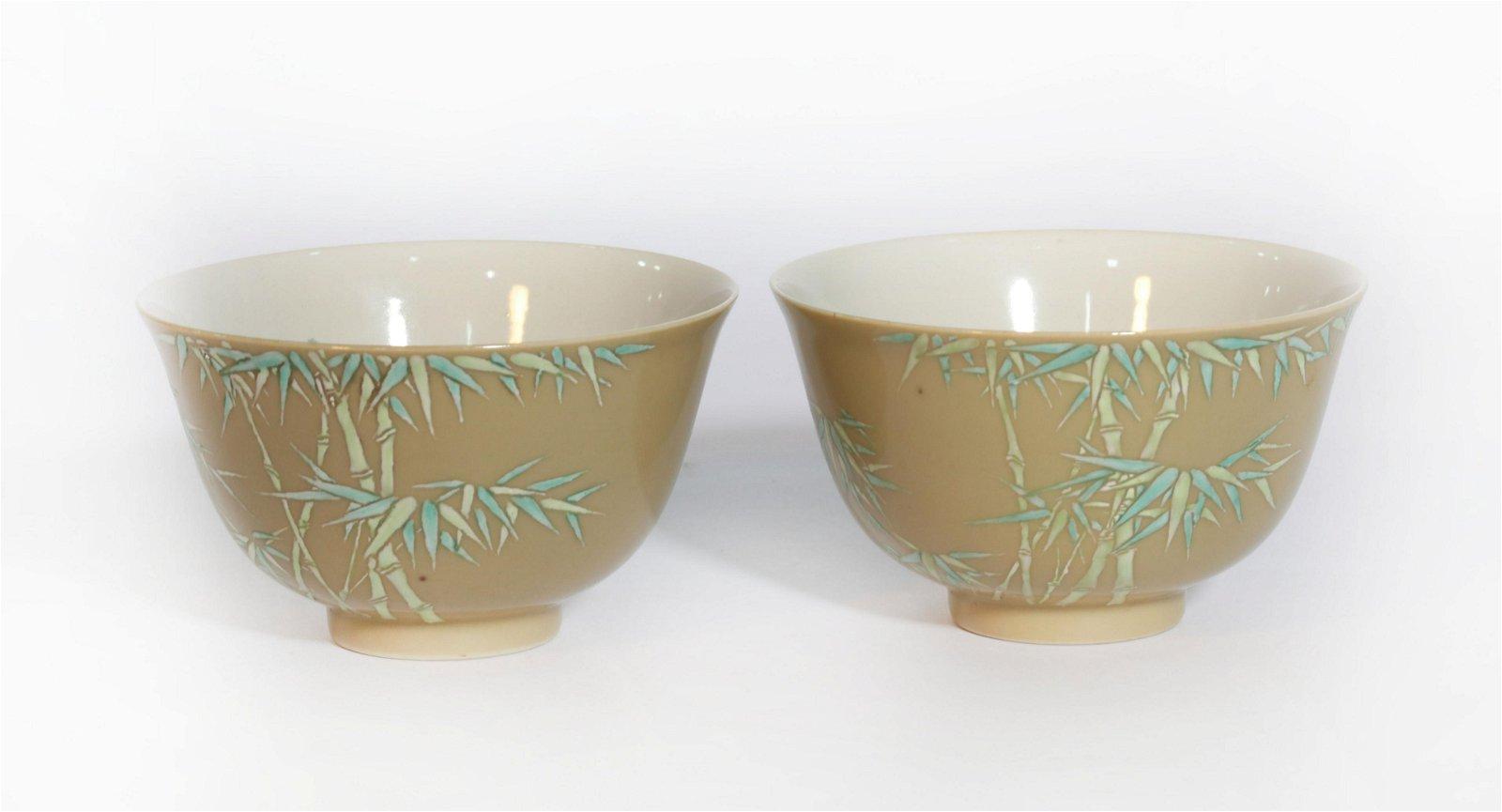 Pair Famille Rose Bamboo Bowls Qianlong Period