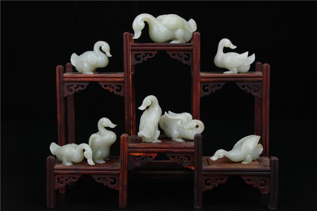 A Group of Jade Gooses Qing Dynasty
