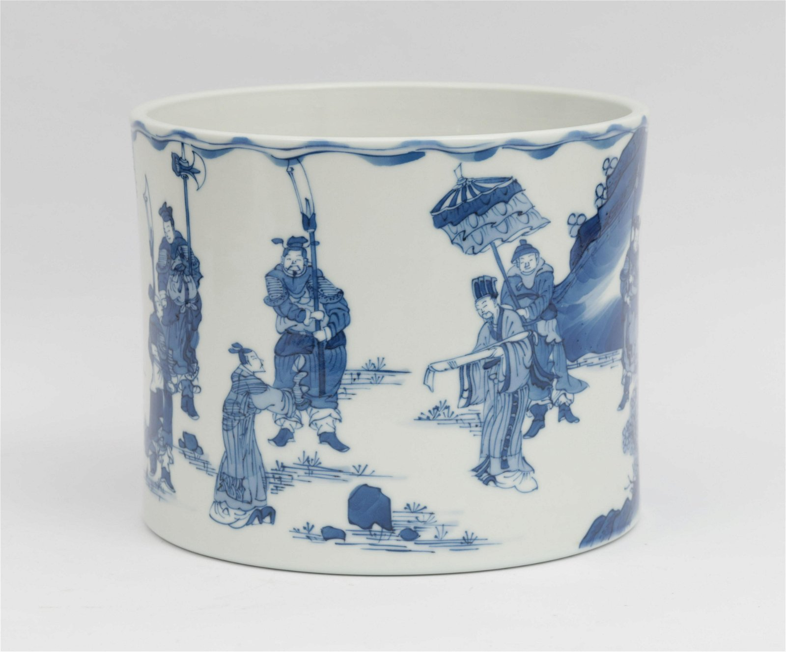 A Blue and White Brush-pot Kangxi Period