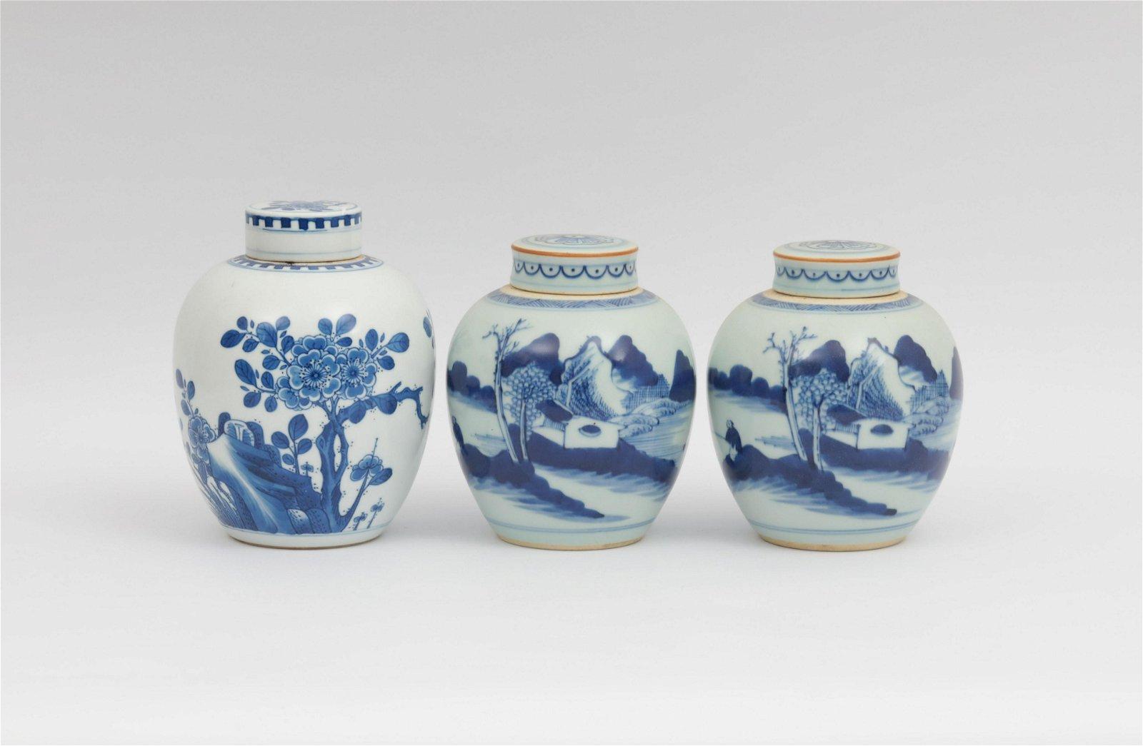 Three Blue and White Jars Kangxi Period