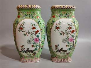 Pair famille Rose Vases Qianlong Style