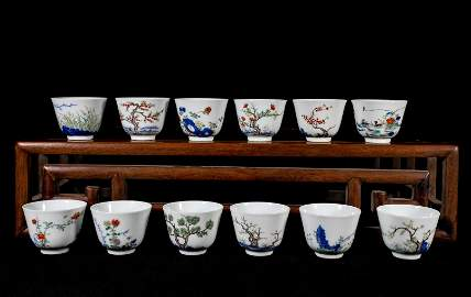 Doucai Twelve Months Cups Kangxi Style