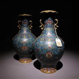 A pair of cloisonne Gold Earrings