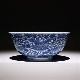 Kangxi blue and white peony bowl