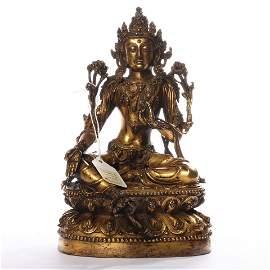 Bronze gilded statue of Avalokitesvara in Ming Dynasty