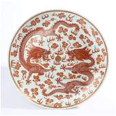 Decorative plate with alum red two dragons playing with