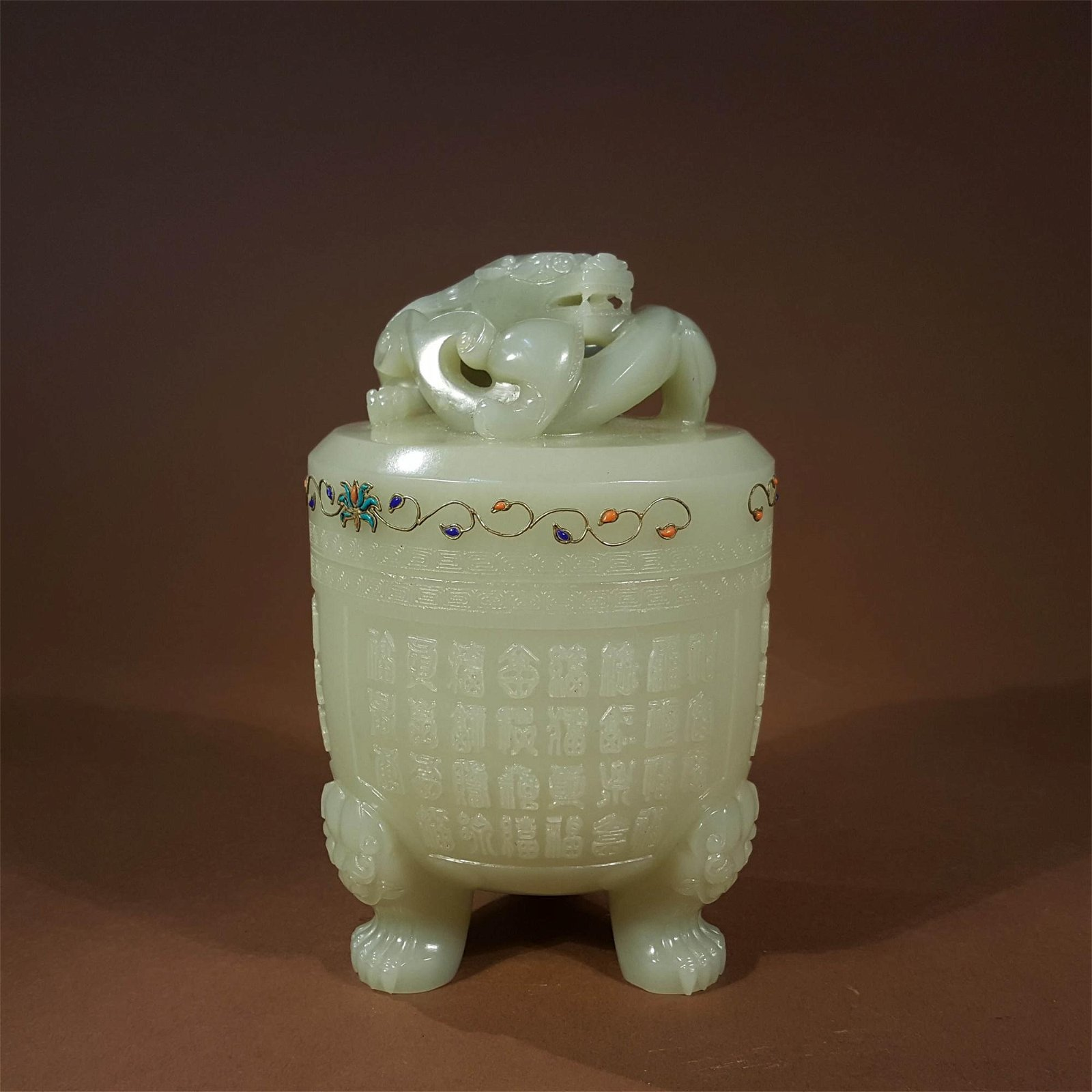 A QING DYNASTY CARVED WHITE JADE DRAGON PATTERN INCENSE