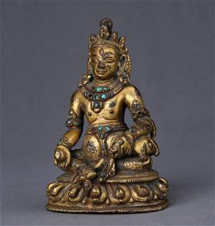 A MING DYNASTY GILTING BRONZE GOD OF WEALTH STATUE