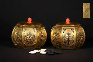 """A SET OF QING DYNASTY GILTING BRONZE GO GAME BOXES, """"LE"""