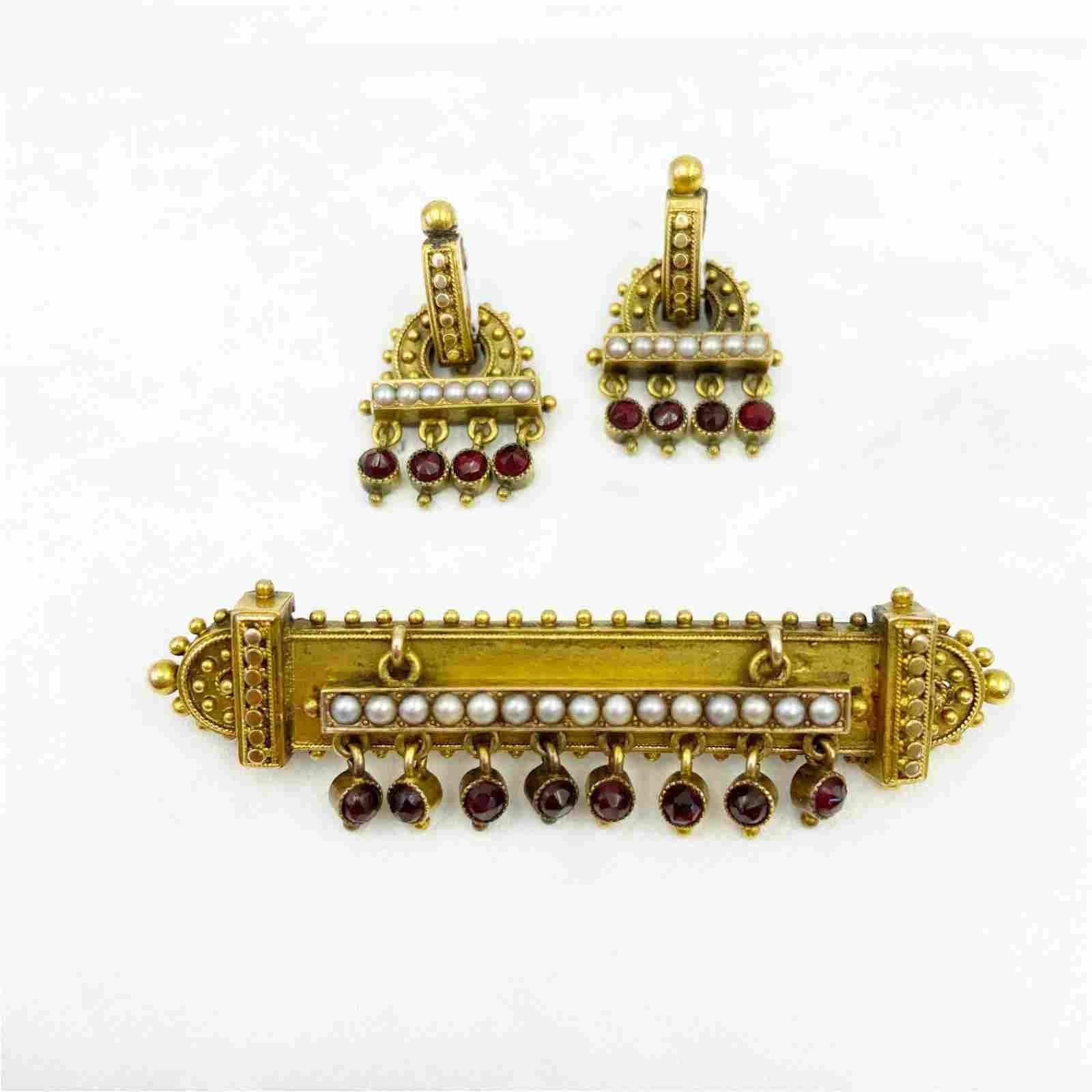 Victorian Gold Garnet Brooch Earring Set