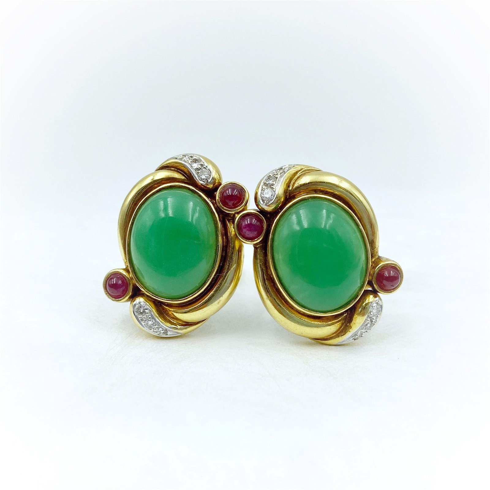 Vintage Gold Ruby Diamond Jade Earrings