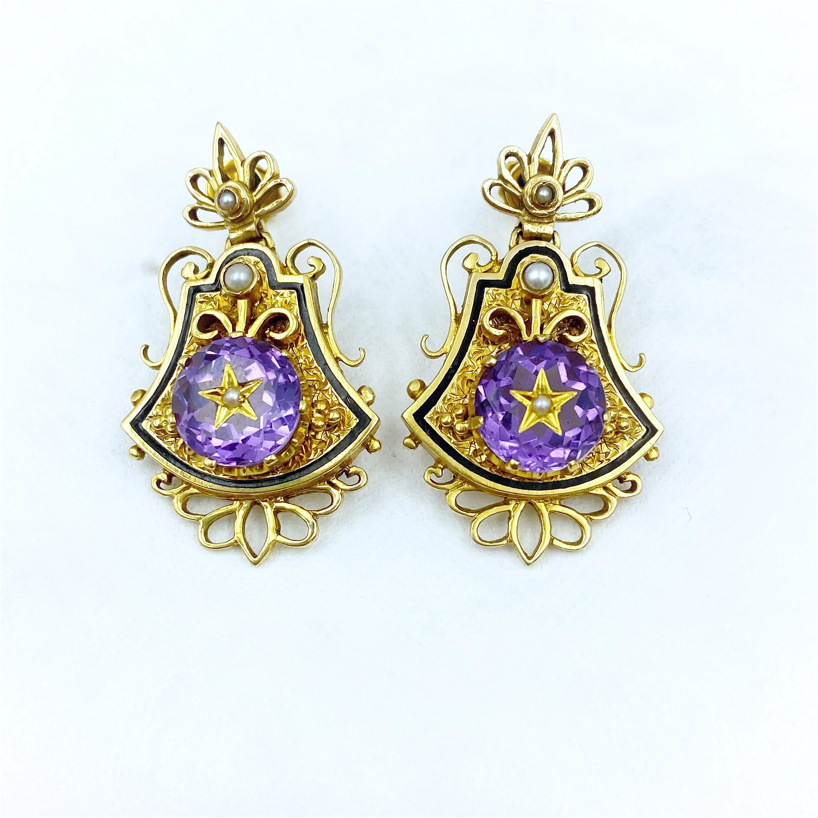 Victorian Gold Amethyst Pearl Earrings