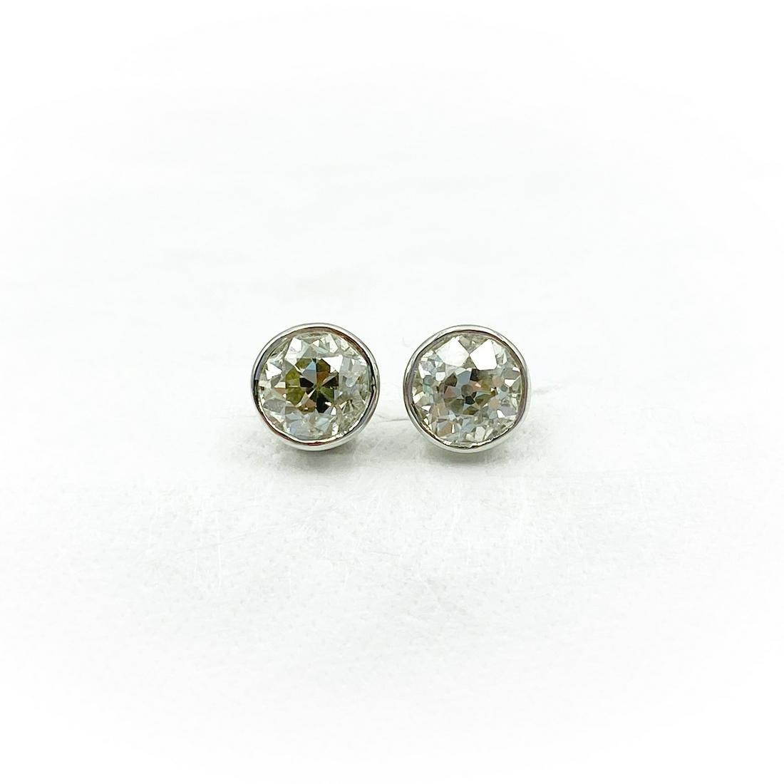 Art Deco Platinum Diamond Stud Earrings